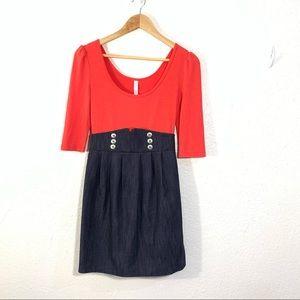 Xhiliration Button Waist Scoop neck Dress Red Blue